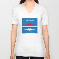 top gun V-neck T-shirts featuring No128 My TOP GUN minimal movie poster by Chungkong