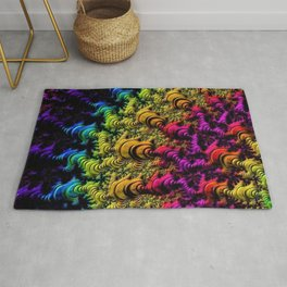 Fractal Sun Rays in Colors Rug