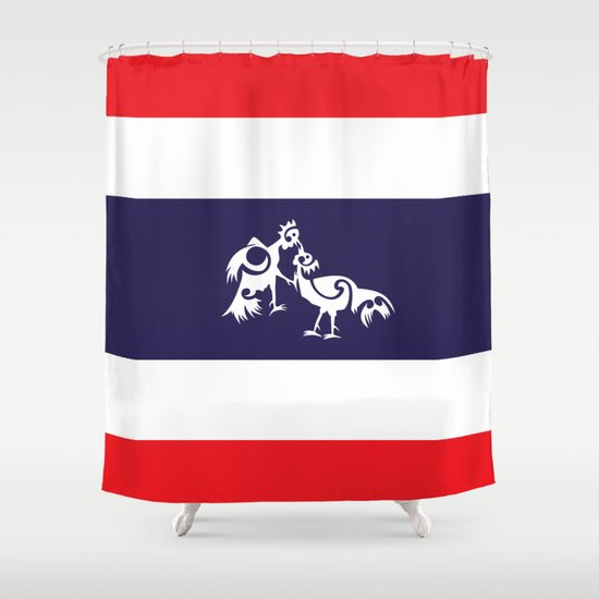 Thailand Flag, Roosters Sparring Shower Curtain
