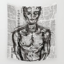 Strategy - Charcoal on Newspaper Figure Drawing Wall Tapestry