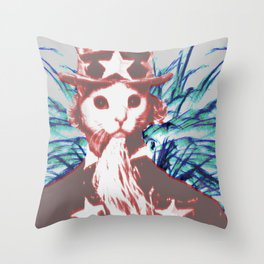 Uncle Cat Throw Pillow