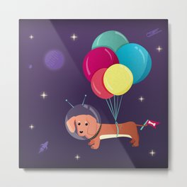 Galaxy Dog with balloons Metal Print