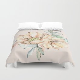 Country Cactus Coral Roses Duvet Cover