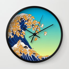 Shiba Inu in Great Wave Wall Clock