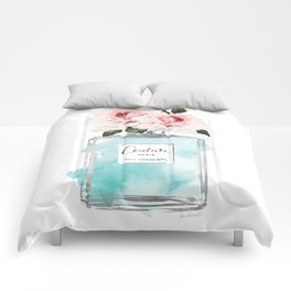 Perfume, watercolor, perfume bottle, with flowers, Teal, Silver, peonies, Fashion illustration, Comforters