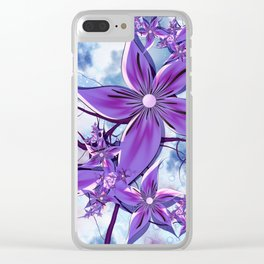 Painted Flowers Fractal Clear iPhone Case