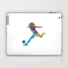 Woman soccer player 01 in watercolor Laptop & iPad Skin