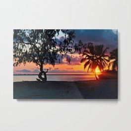 Tropical Sunset Beach Palm Trees Panorama Metal Print