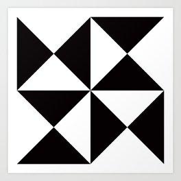 Geometric Pattern #45 (black white triangles) Art Print