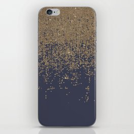 Navy Blue Gold Sparkly Glitter Ombre iPhone Skin