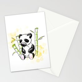 Digital Charcoal Panda (with golden lights) Stationery Cards