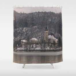 Bled Island Dusted With Snow Shower Curtain