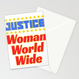 "Cool and creative tee design with text ""Justice Woman World Wide"". Makes a nice gift! Stationery Cards"