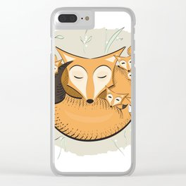 Mom fox Clear iPhone Case
