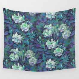 White roses, blue leaves Wall Tapestry