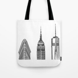New York City Iconic Buildings-Empire State, Flatiron, One World Trade Tote Bag