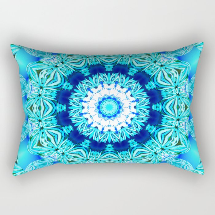 Blue Ice Glass Mandala, Abstract Aqua Lace Rectangular Pillow