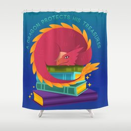 A Dragon Protects His Treasure blue version Shower Curtain