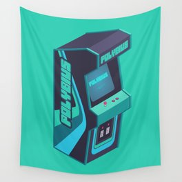 Polybius Arcade Game Machine Cabinet - Isometric Green Wall Tapestry