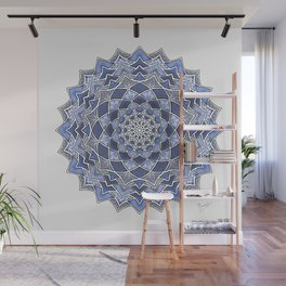 12-Fold Mandala Flower in Blue Wall Mural