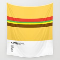 food Wall Tapestries featuring Pantone Food - Hamburger by Picomodi