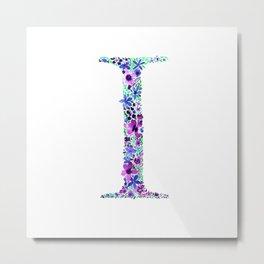 Floral Monogram Letter I Metal Print