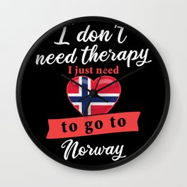 Norway country therapy I don't need therapy I just need to go to Norway Wall Clock