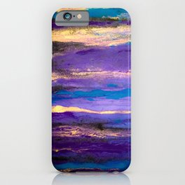 Amazonite Amethyst Sky: a colorful abstract piece in purples and blues by KKingCreations iPhone Case