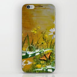 Yellow daisies and waterdroplets with butterfly by annmariescreations iPhone Skin