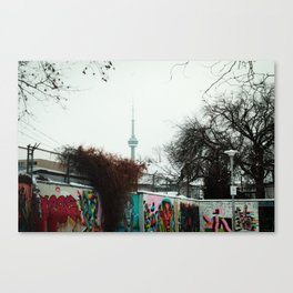 A view of the CN TOWER from kensington market Canvas Print