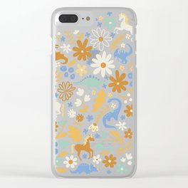 Dinosaur + Unicorns in Blue + Umber Clear iPhone Case