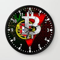 portugal Wall Clocks featuring bitcoin Portugal by seb mcnulty