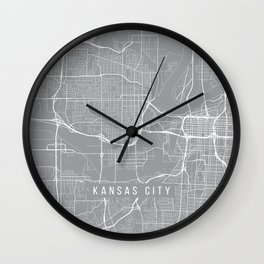 Kansas City Map, Kansas USA - Pewter Wall Clock