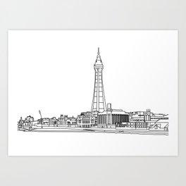 Blackpool Line Art Landscape Art Print
