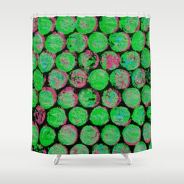 Green and Pink Gumballs Shower Curtain