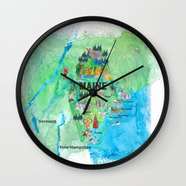 USA Maine State Travel Poster Map with Touristic Highlights Wall Clock