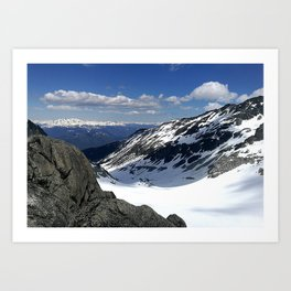 Mountains dappled with snow and rock Art Print