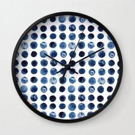Indigo Circles Watercolor Pattern Wall Clock