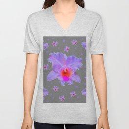 GREY ART TROPICAL LILAC CATTLEYA ORCHID FLOWERS Unisex V-Neck