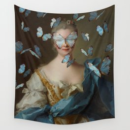 Lady with Blue Butterflies Wall Tapestry