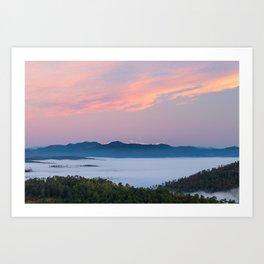 Sunrise morning fog in valley Triglav, Slovenia Art Print