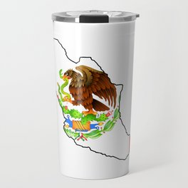Mexico Map with Mexican Flag Travel Mug