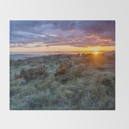 colorful sunset over the Ciovo island, Croatia Throw Blanket