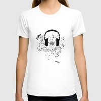 music notes T-shirts featuring Headphones and Music Notes by JuyoDesign