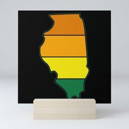 US state of Illinois sunset retro map of illinois Mini Art Print