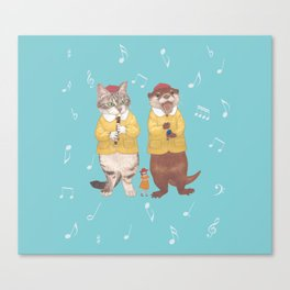 A GIRL WITH CAT and OTTER wide Canvas Print