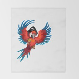 Pirate parrot Throw Blanket