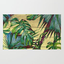Tropical Palm Leaves on Wood Rug