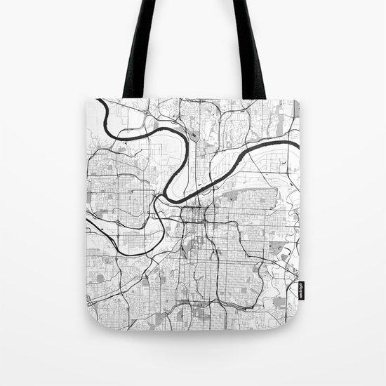 Kansas City Map Gray Tote Bag