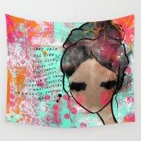 keep calm Wall Tapestries featuring keep calm by SannArt